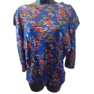 Free People Ruffle trim Top Floral S